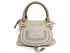 Authentic Chloe Gray Marcie Leather Handbag w/ Shoulder Strap