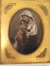 "Madonna Mother And Child Oil Painting On Canvas w Ornate Gilt Frame 15 ""x12"""