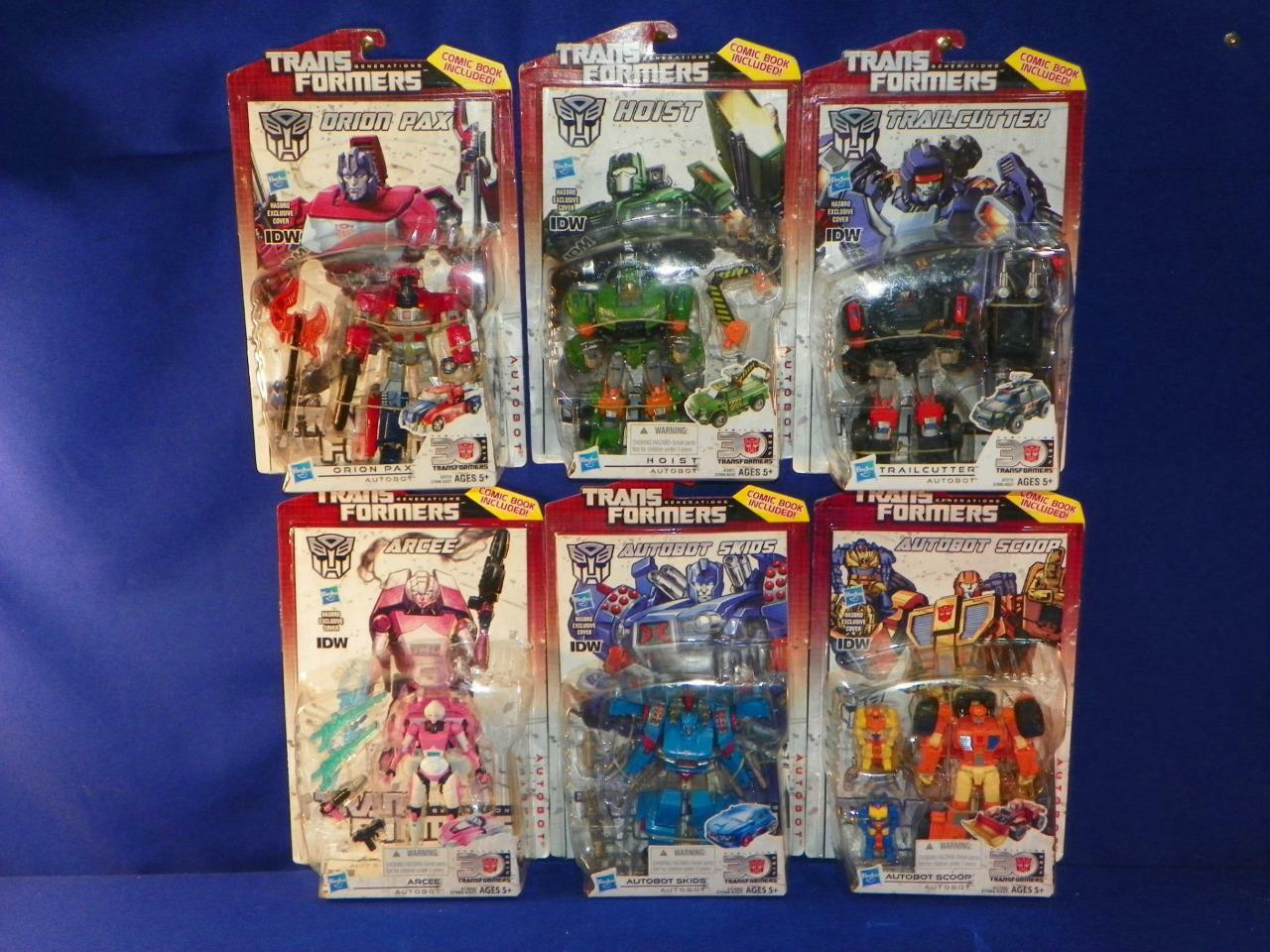 TRANSFORMERS IDW Deluxe Orion Pax Hoist Trailcutter Arcee Skids Scoop Lot NEW