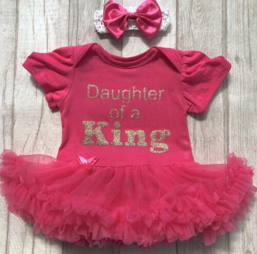 Hija de un rey Mameluco Vestido Tutú Rosa Bebé Niña Recién nacido Padres Día Regalo