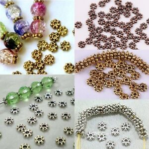 100-1000-Pcs-Tibetan-Silver-4mm-6mm-Daisy-Spacer-Beads-Bead-Jewellery-Findings