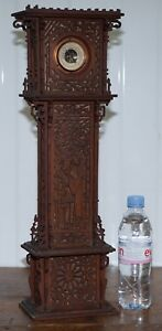 RARE-56CM-TALL-19TH-CENTURY-CONTINENTAL-WALNUT-FRET-CARVED-BAROMETER-ORIENTAL