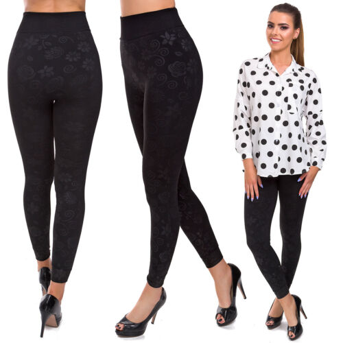 Womens High Waisted Winter Leggings Patterned Warm Thick Slimming Pants FS29070