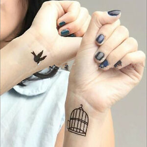 Details About Flying Bird Out Of Cage Hand Wrists Temporary Fake Tattoo Transfer Sticker