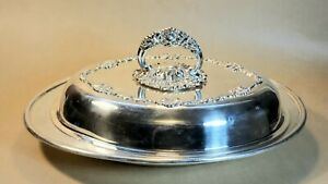 Vintage Antique Collectible Sheffield Silver Plated Oval Serving Dish #1914H