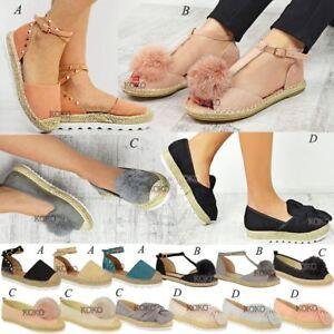 Womens-Ladies-Espadrilles-Flat-Pom-Pom-Sandals-Slip-On-Strappy-Comfy-Size-Shoes