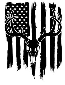 Distressed American Flag Whitetail Deer Buck Hunter Antler