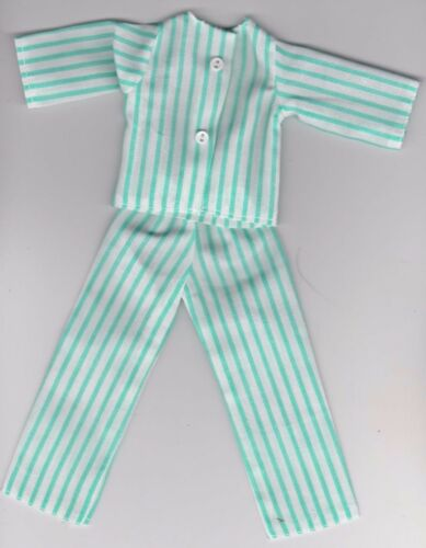 Doll Clothes-Pale Green and White Striped Pajamas that fit Barbie-Homemade BP5