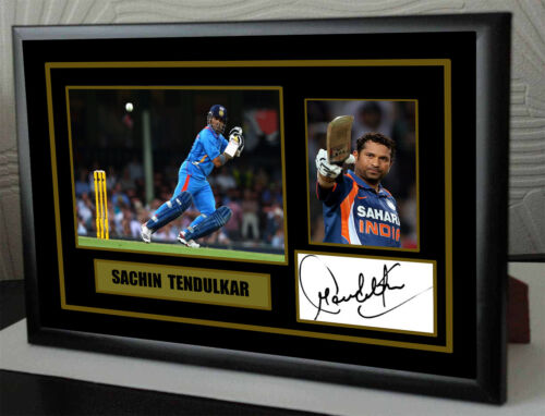 "Sachin Tendulkar Cricket Framed Canvas Tribute Print Signed.""Great Gift"""