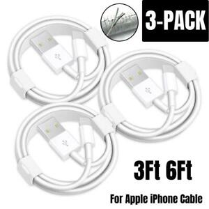 3Pack USB Fast Charger Cable For Apple iPhone 11 8 7 6 Plus Charging Cord 3/6Ft