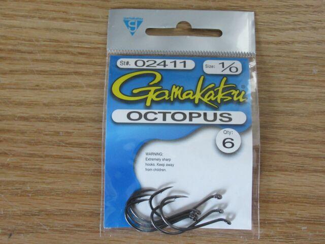 4 packs gamakatsu octopus hook size 1//0  6 per pack # 02411  hooks