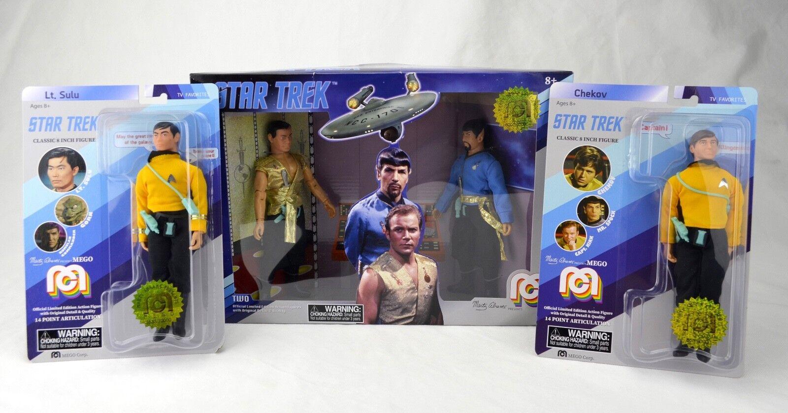 Nuevo En Caja Mego universo de Star Trek 8  Espejo Kirk Spock Plus Sulu Chekov Lote de 3