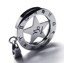 Sternzeichen Anhänger rund drehbar Edelstahl mit Kugelkette Steinbock