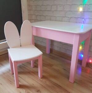 Details Zu 3tlg Kindersitzgruppe Kindertisch 2 X Kinderstuhl Massivholz Rosa Weiss Set