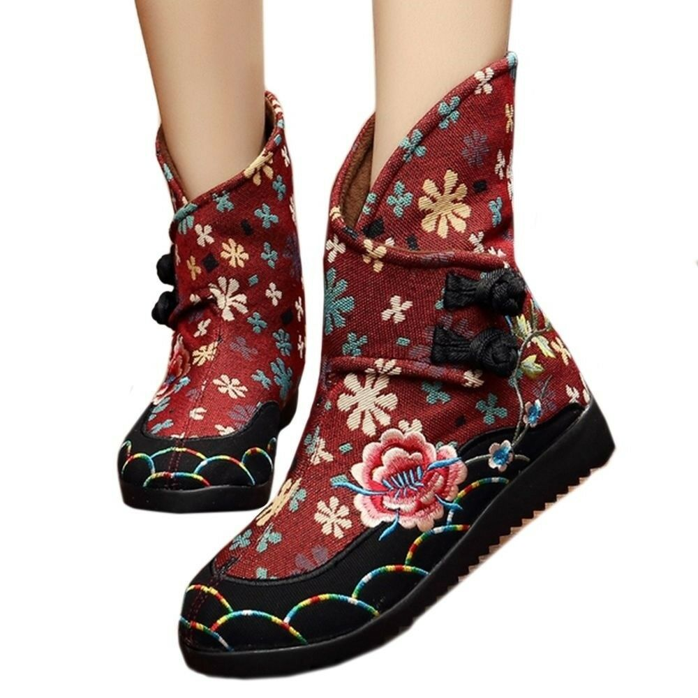 Vintage Beijing Cloth shoes Embroidered Boots claret 35