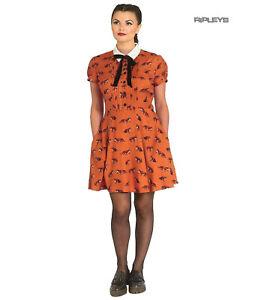 Hell-Bunny-40s-50s-Brown-Mini-Dress-Pin-Up-VIXEY-Vixen-Fox-Print-All-Sizes