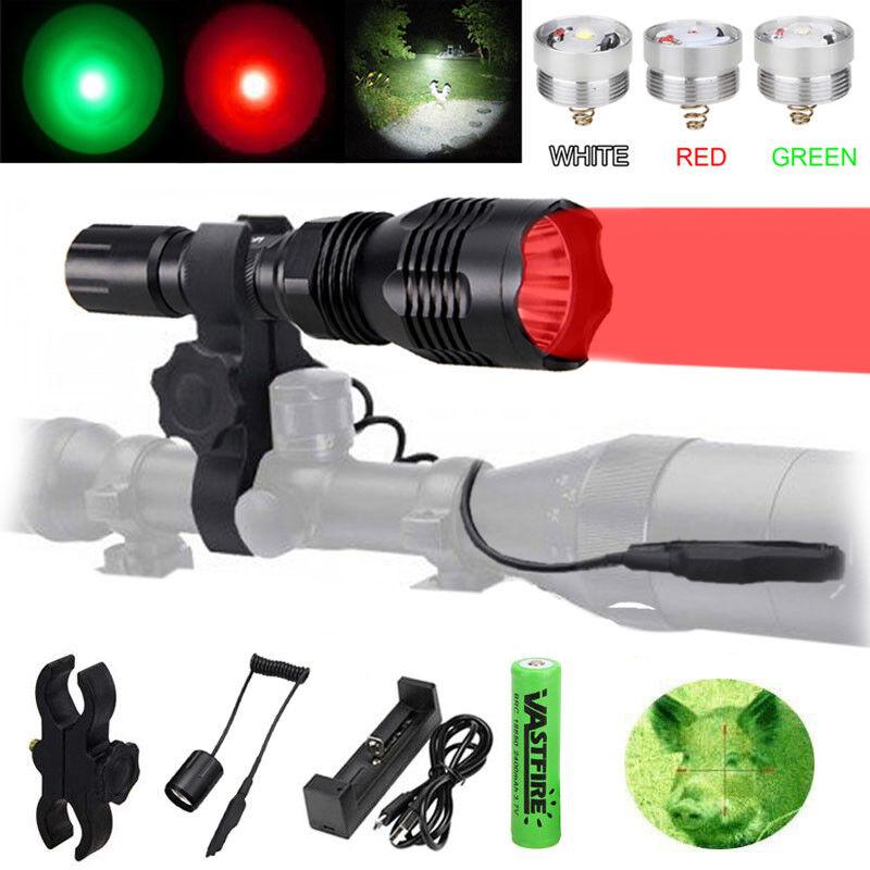 Red Green LED Flashlight  Hunting Night Light Coyote Hog Fox Beam Set Scope Mount  counter genuine
