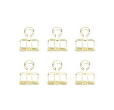Kikkerland Or73 Gd Brass Wire Clips Paper Clips Binder Style Set Of 6 Gold