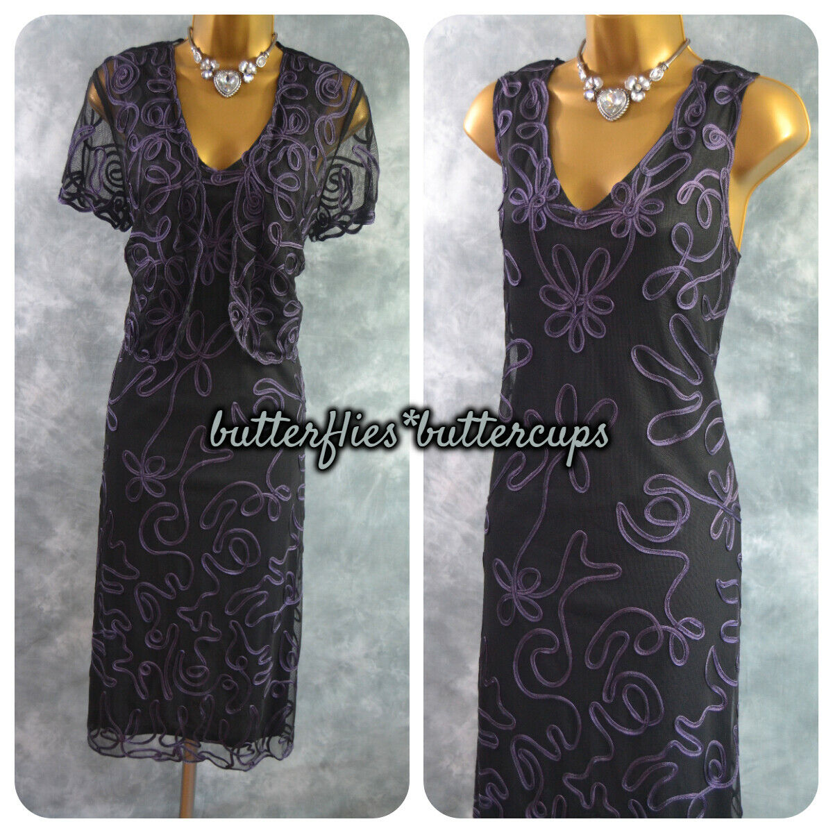 ~ DEBENHAMS ~ Black & Purple Cornelli Dress & Bolero Size 14 Mother of the Bride