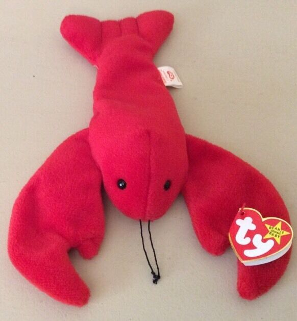 Beanie Baby Pinchers the Lobster  4026 Pvc Pellets. No Number On Tush Tag 1993
