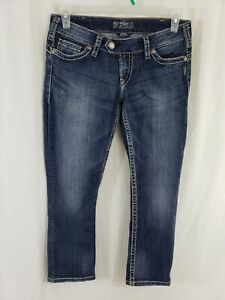 Silver-Jeans-Tuesday-Capri-Womens-Blue-Denim-Size-30-x-26-Medium-Wash-Low-Rise
