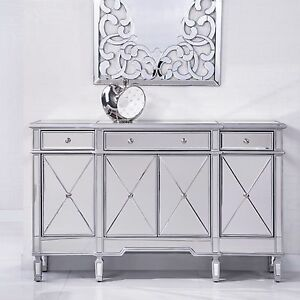 Image Is Loading Contemporary Hallway Morrored Console Table Cabinet Storage Drawers