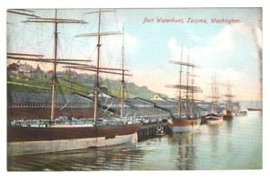 Postcard-WA-Tacoma-Port-Waterfront-Ships-RPPC-Real-Photo-Hand-Colored-c1907