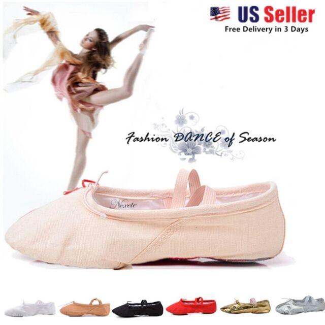 Kids Adult Soft Split Sole Ballet Dance Gymnastics Shoes Slippers Canvas