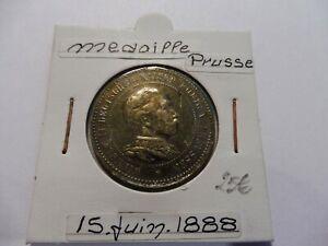 Ancienne MÉdaille Prusse Juin 1888 - TrÈs Belle - Sous Étuis ! Haute Qualité