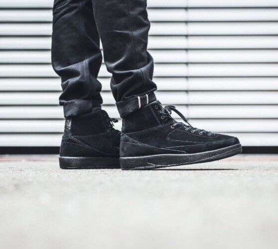 59a9aca4f776b3 Nike Air Jordan 2 II Retro Decon Triple Black Suede Men Shoes Aj2  897521-010 UK 9 for sale online
