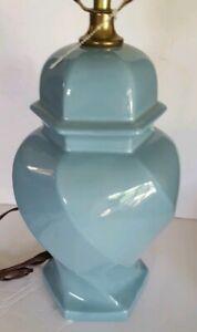 Vintage Ceramic Light Blue Ginger Jar Lamp