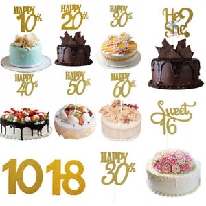 Image Is Loading Happy Birthday Cake Toppers Glitter Calligraphy Bling Sparkle