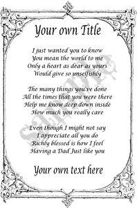 Details Zu Personalised Dad Poem A4 A5 Scroll Certificate Gift Father Da Papa Keepsake