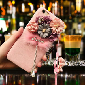 Womens 3D Floral Flower Phone Case Cover Belt For iPhone 6 6S 7 8 ... ba4fc1db96