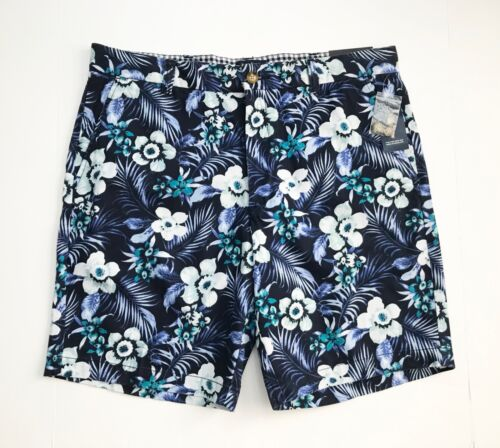 NWT Navy Blue CLUB ROOM Men/'s Hawaiian Floral Cotton Shorts
