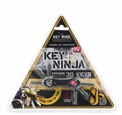 Key Ninja Ring Black Compact Organiser LED Light Torch Bottle Opener Multi Tool