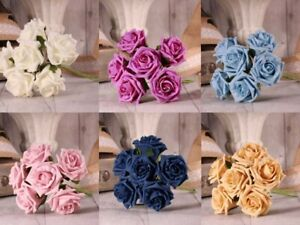 Foam-Tea-Roses-6-Stems-In-21-colours-Wedding-Flowers-Home-Display-Arts-Crafts