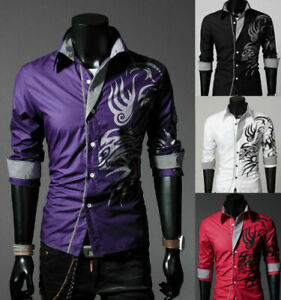 New-Luxury-Hot-Men-Slim-Fit-Shirts-Long-Sleeve-Dress-Formal-Shirt-Casual-T-Shirt