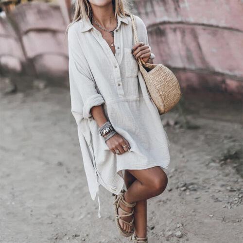 Womens Long Sleeve Mini Dress Ladies Casual Loose Cotton Linen Shirt Dresses