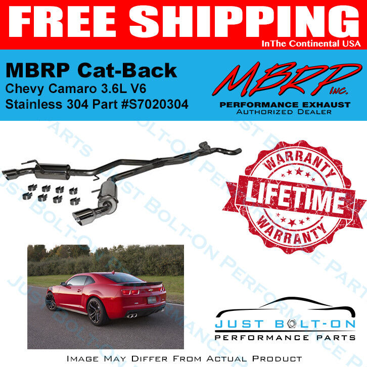 MBRP S7020304 T304-Stainless Steel Round Tips Dual Cat Back Exhaust System