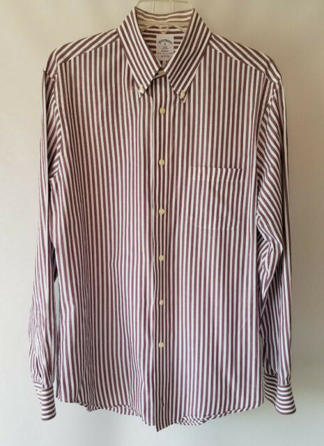 Brooks Brothers 1818 Regent Men's Striped Button Up Front L/S Shirt Size M