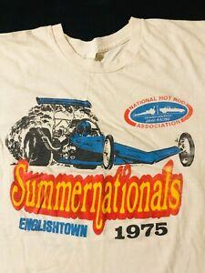 Vintage-70s-1975-NHRA-Summernationals-Drag-Racing-T-Shirt-Englishtown-New-Jesey