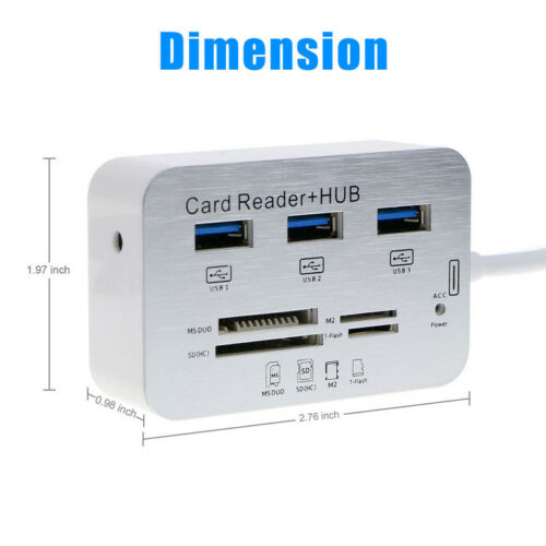 3 Port USB Hub 3.0 TF SD Card Reader Support SD//TF//M2//MS for laptop computer PC