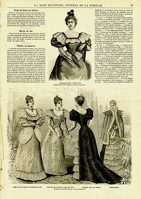 French MODE ILLUSTREE SEWING PATTERN October 7,1894 Dresses and coats