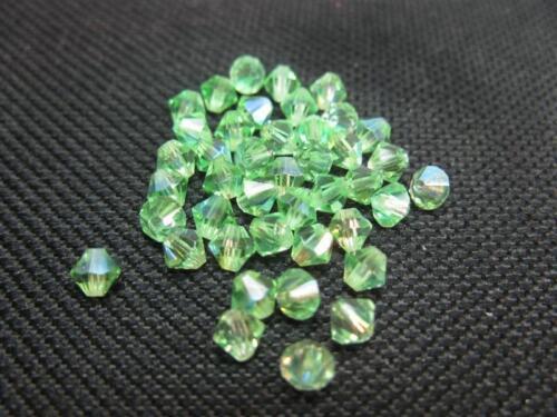40 Glasschliffperlen Doppelkegel 4mm hellgrün AB Beads 9987 K14