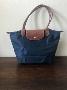 Details about Longchamp Le Pliage Nylon Tote Navy Blue Folding Shopping Bag S M Size Shoulder