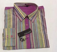 Tulliano Men's Designer Shirt -fuchsia Stripped Big & Tall Sizes With Tags