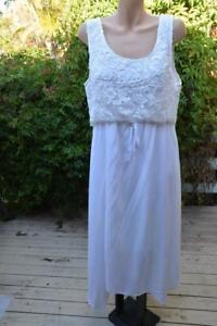 ROCKMANS-White-MAXI-DRESS-Lacy-Bodice-Overlay-Size-16-NEW-RRP-89-99-NEW