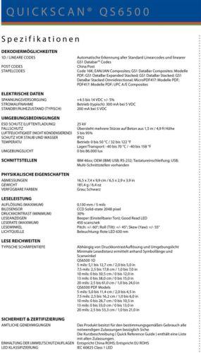 DATALOGIC QUICKSCAN QS6500 BARCODESCANNER SCANNER BARCODE PS//2 KEYBOARD TASTATUR