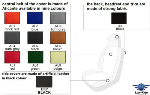 RENAULT TRAFIC 2007-2014 ARTIFICIAL LEATHER /& ALICANTE TAILORED SEAT COVERS